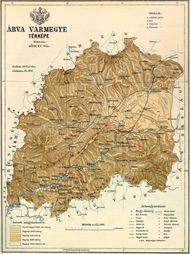 Mapa župy Orava, r. 1912. Arva district map, year 1912.