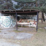 """There are two types of bus stop decoration. The first is a Soviet style and the second """"Oriental"""" (on the picture)."""