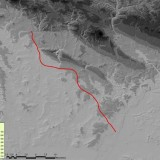 Fig.01. The trajectory of the R35 motorway project on the LIDAR terrain backround. The noodle in space.