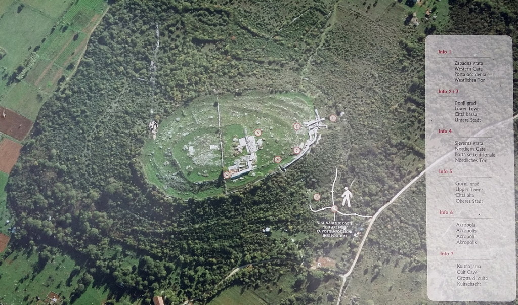 Vertical aerial view to the Monkodonja hillfort with the main components description.