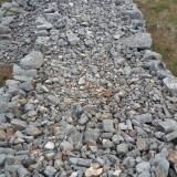 The dry stone wall construction detail.